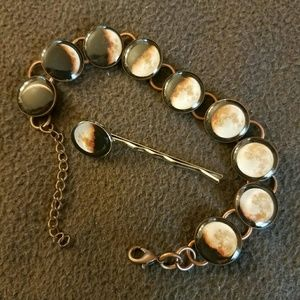Jewelry - Moon Phase Bracelet and Hair Pin